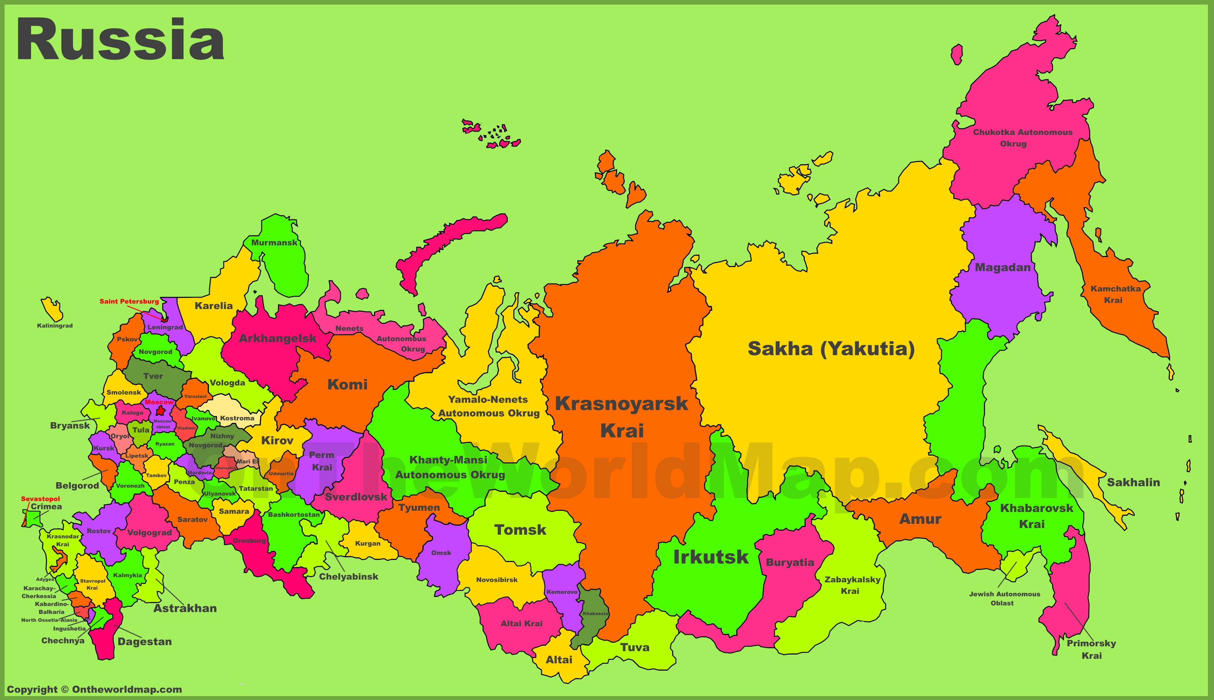 Russia Maps | Maps Of Russia (Russian Federation) - Free Printable Map Of Russia
