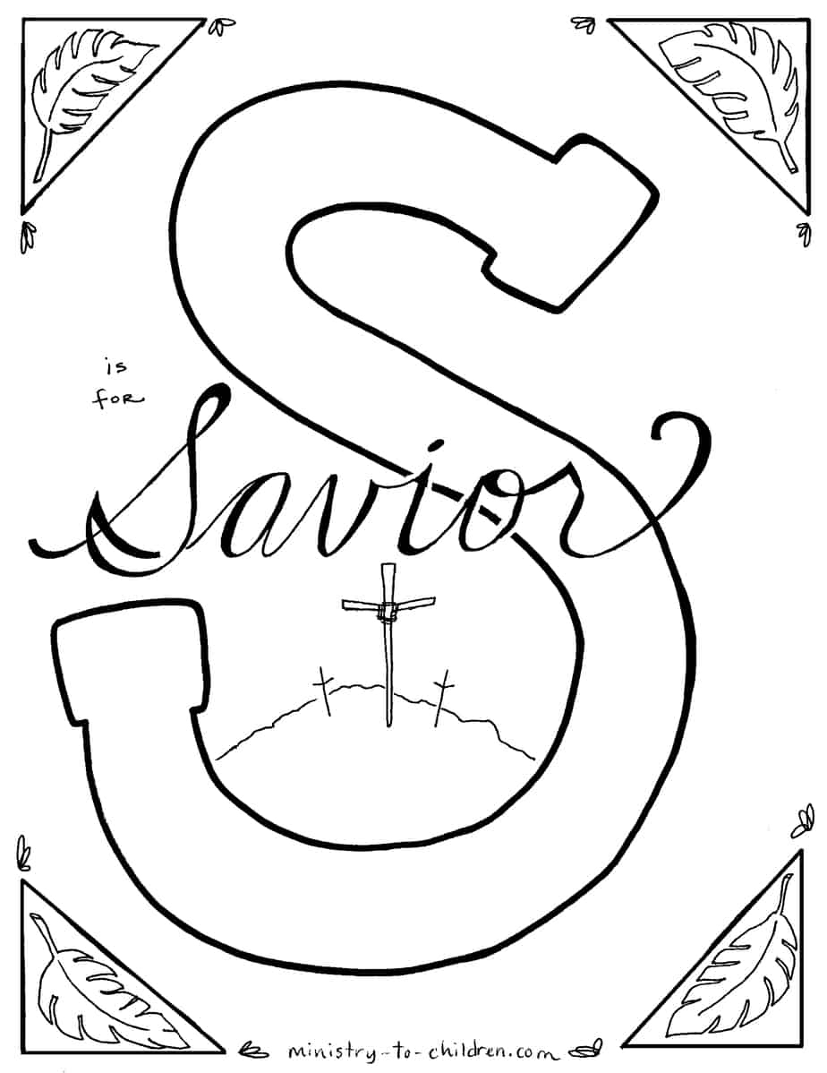 "S Is For Savior"" Bible Alphabet Coloring Page - Free Printable Children's Church Curriculum"