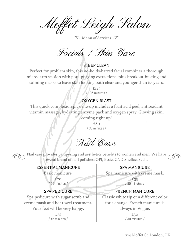 Salon Menu Templates From Imenupro - Free Printable Menu Maker