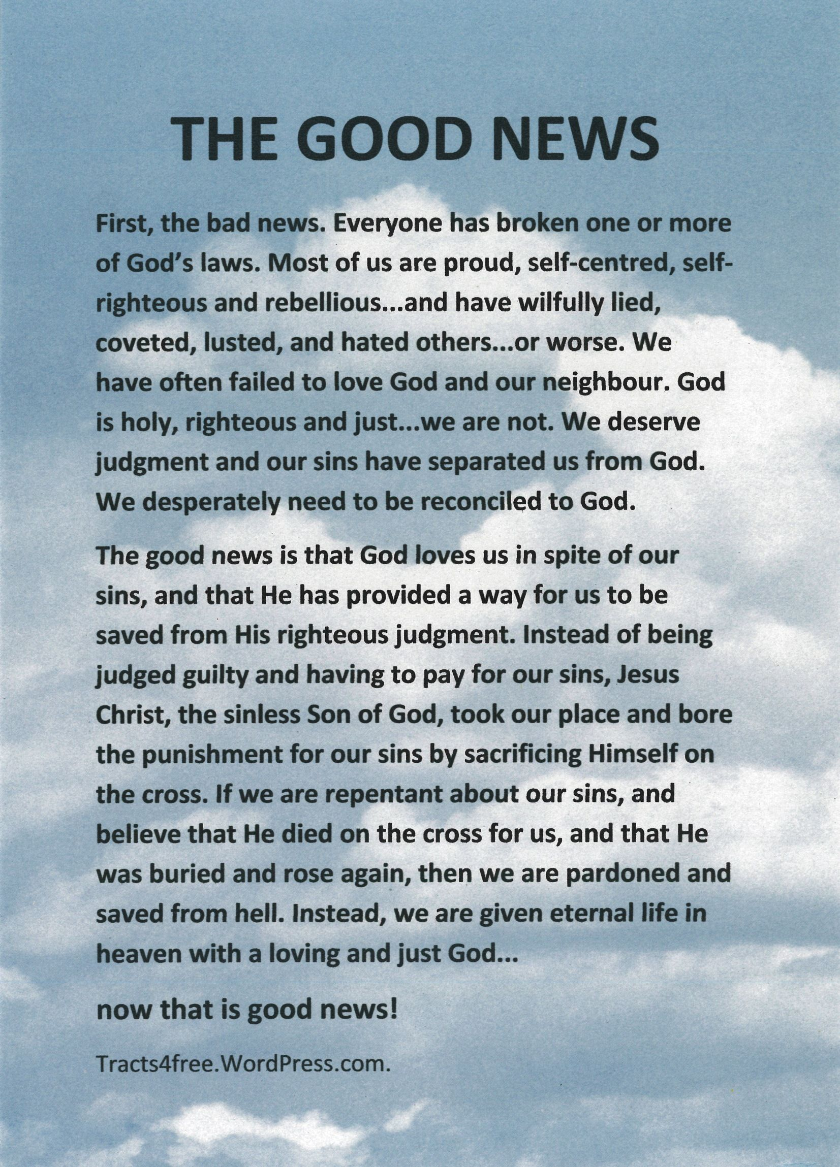 Salvation Tracts Printable - Google Search | The Good News - Free Bible Tracts Printable