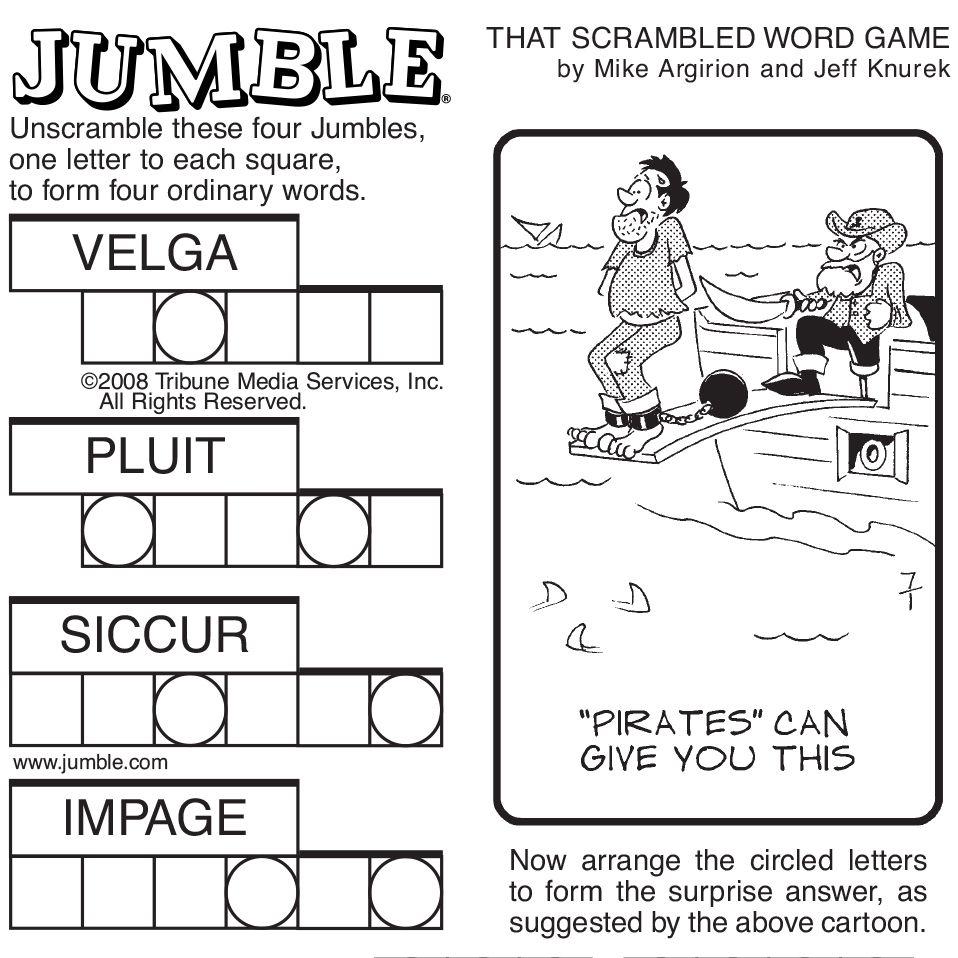 Sample Of Sunday Jumble | Tribune Content Agency | Stuff I Like - Jumble Puzzle Printable Free