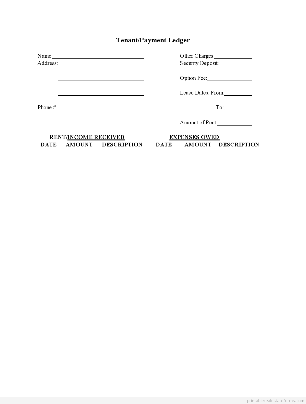 Sample Printable Tenant Payment Ledger Form | Sample Real Estate - Free Printable Rent Ledger
