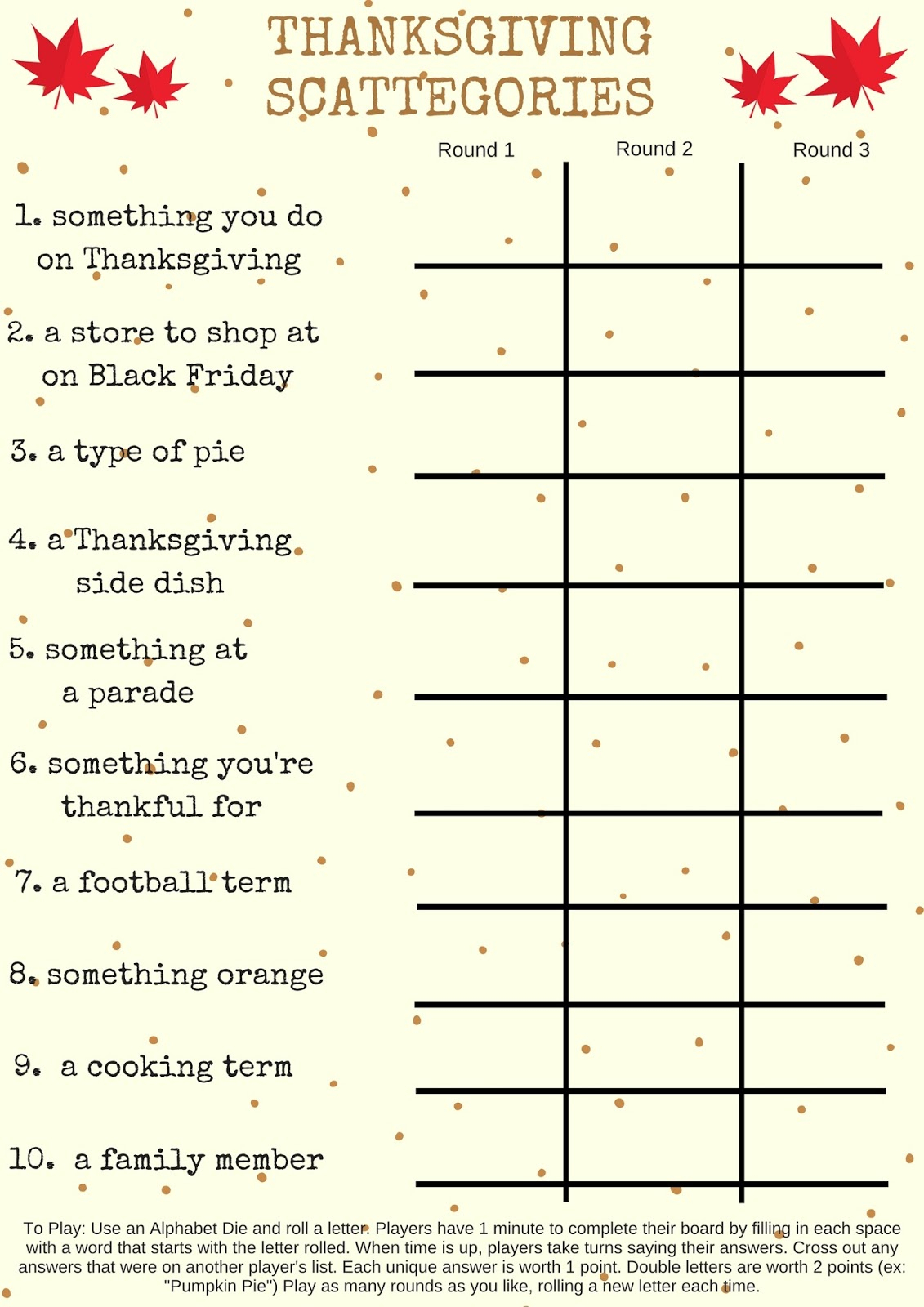 Savvy Spending: Free Printable: Thanksgiving Scattegories Game - Thanksgiving Games Printable Free
