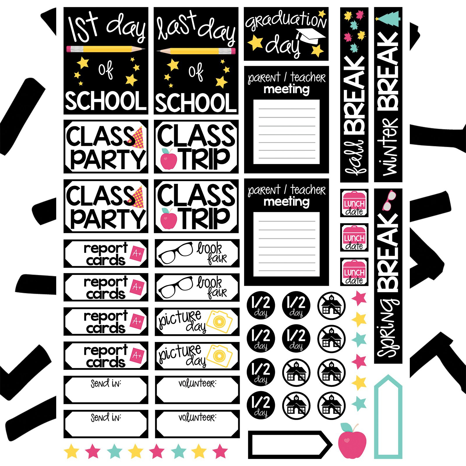 School Planner Stickers Free File | Kelly Lollar Designs - Free Printable Stickers For Teachers