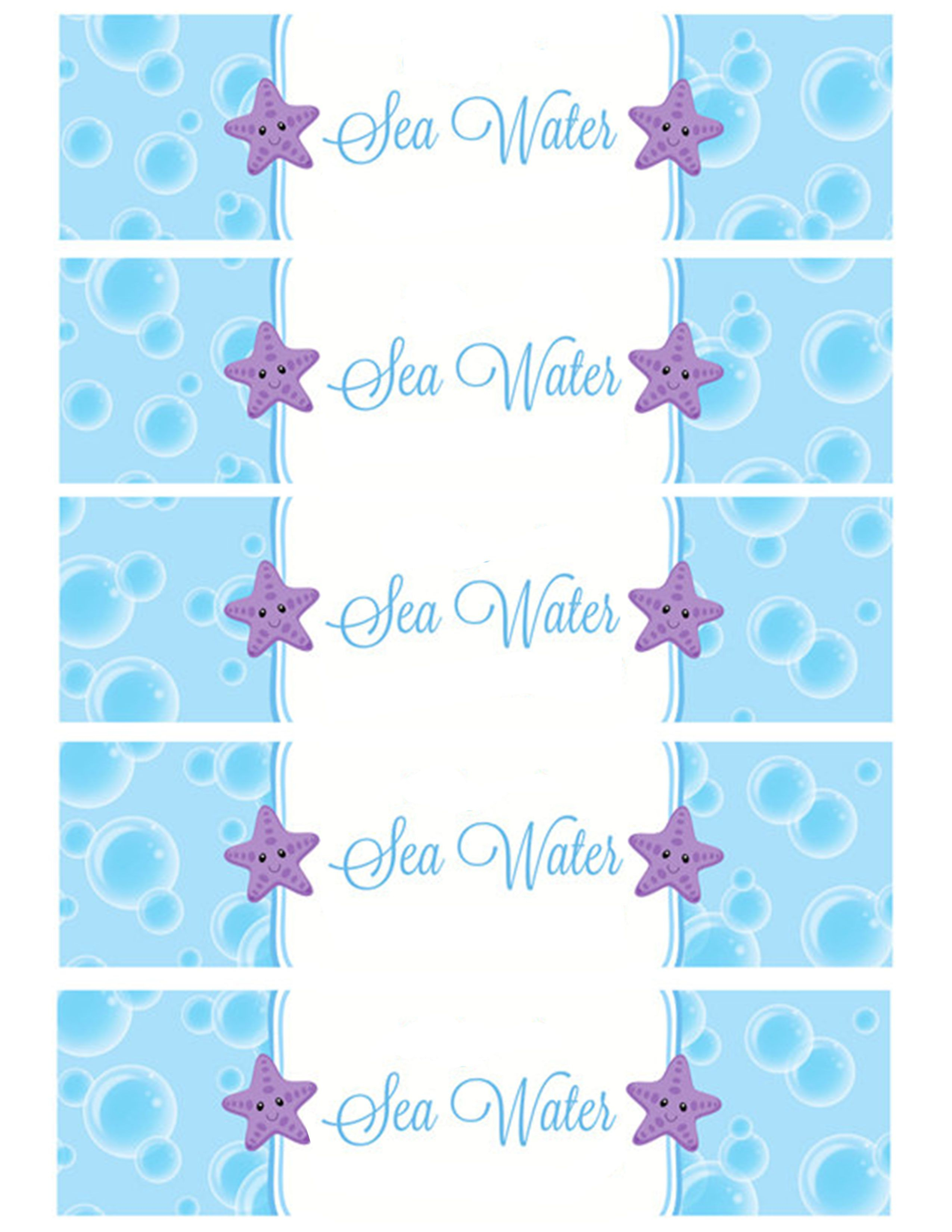 Sea Water Water Bottle Labels   Holiday - Birthday Party   Pinterest - Free Printable Little Mermaid Water Bottle Labels