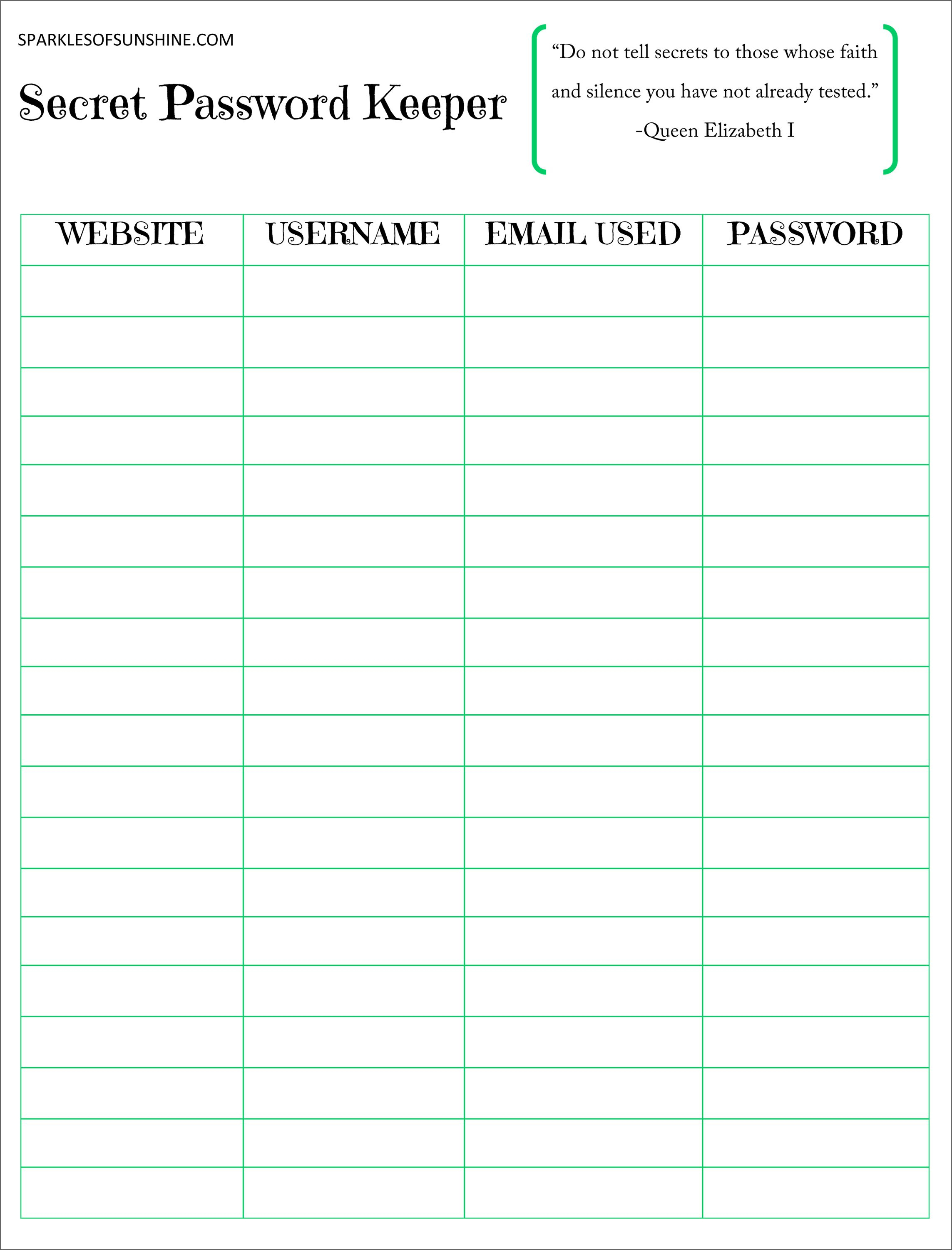 Secret Password Keeper Free Printable | Planners | Password Keeper - Free Printable Password Keeper