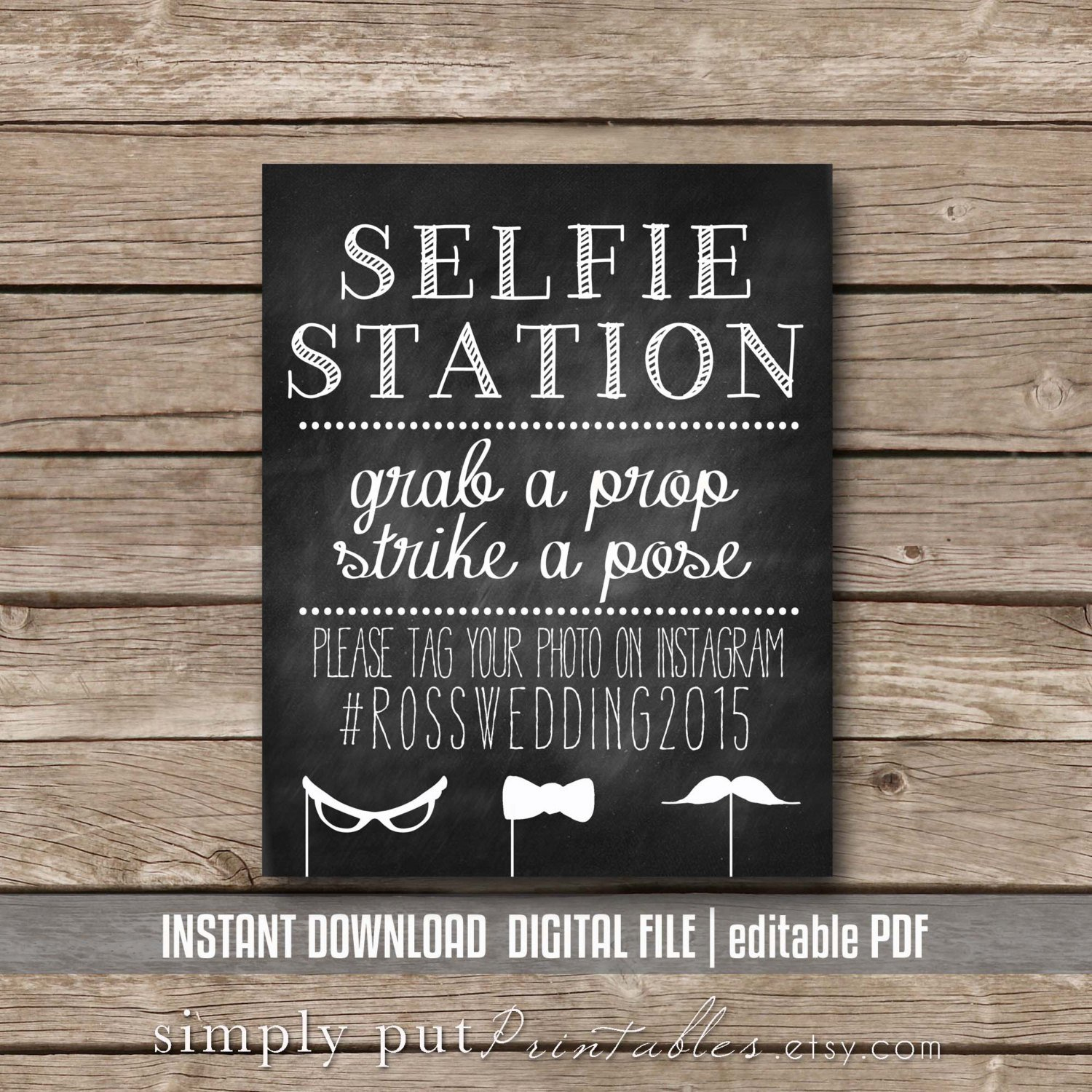 Selfie Station Photo Booth Chalkboard Sign Printable Grab A | Etsy - Selfie Station Free Printable