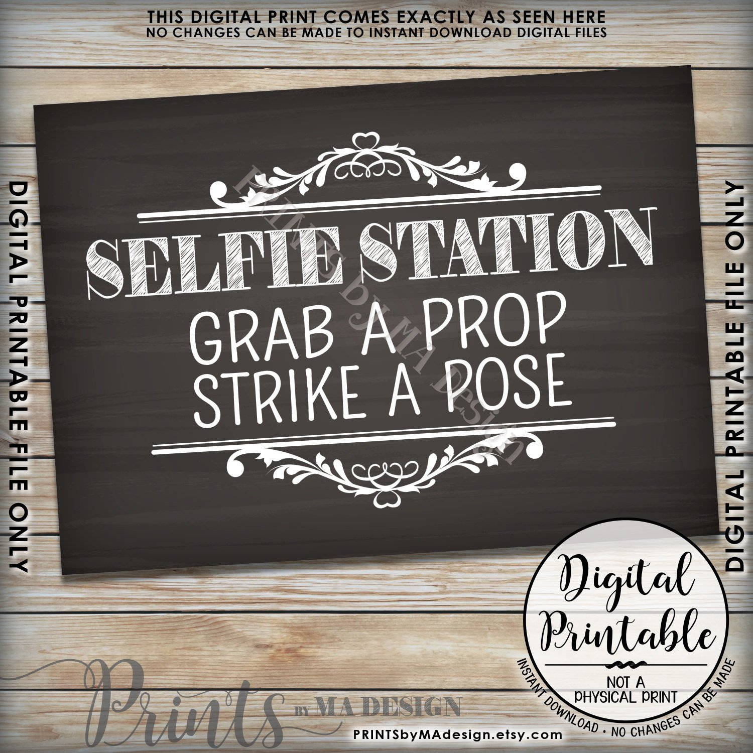 Selfie Station Sign, Grab A Prop & Strike A Pose Photo Booth Wedding - Selfie Station Free Printable