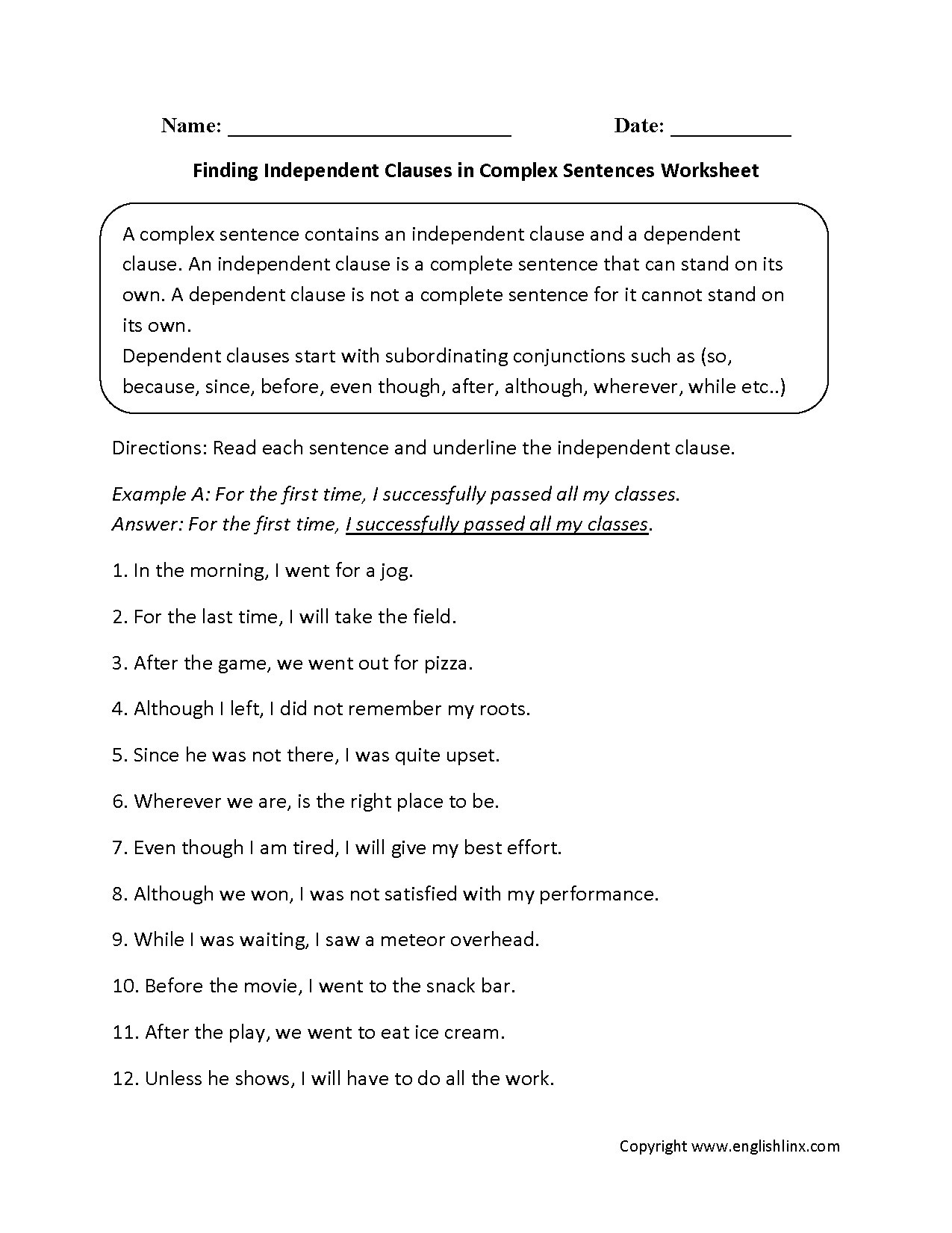 Sentences Worksheets | Complex Sentences Worksheets - Free Printable Worksheets On Simple Compound And Complex Sentences