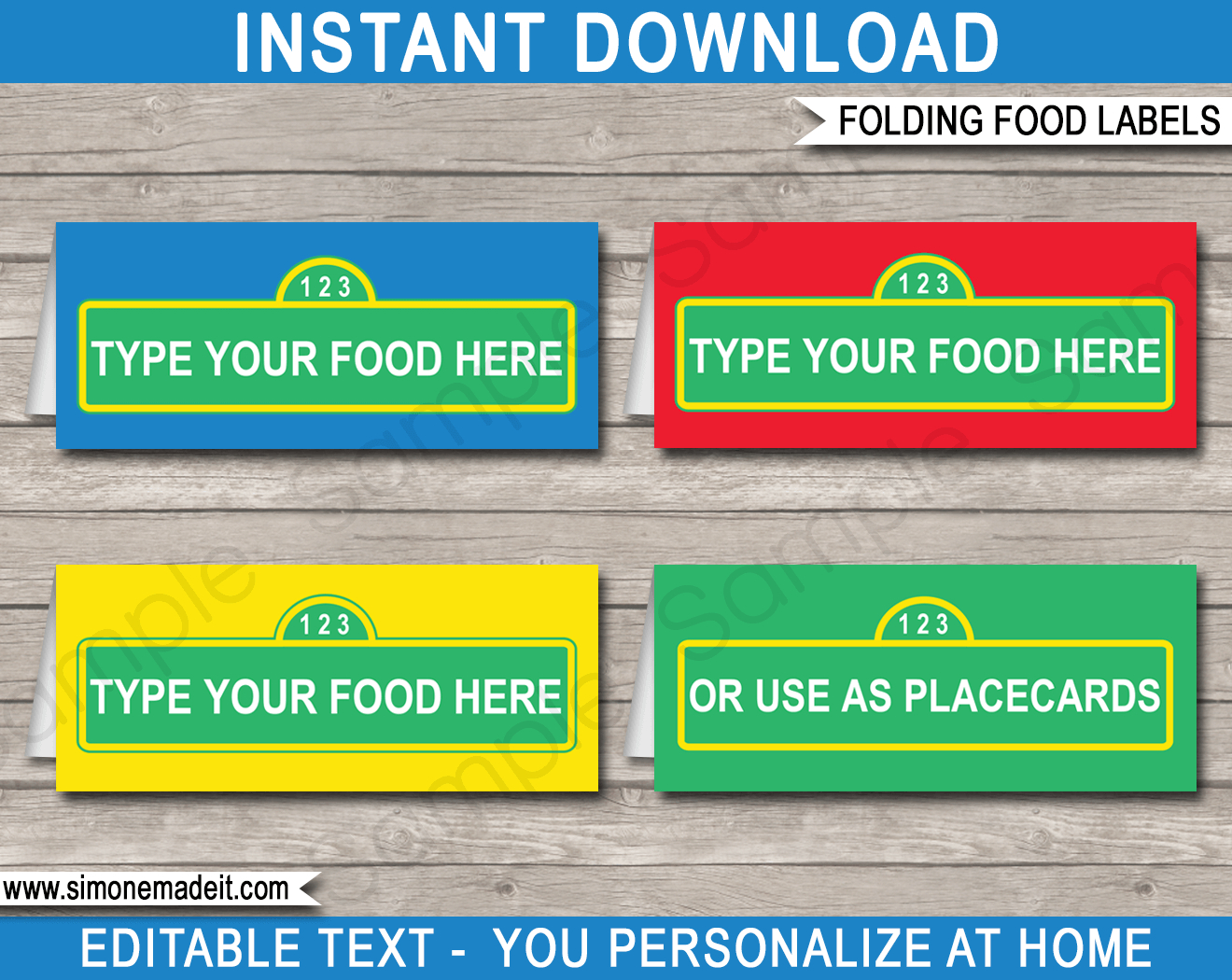 Sesame Street Party Food Labels Template - Free Printable Sesame Street Food Labels
