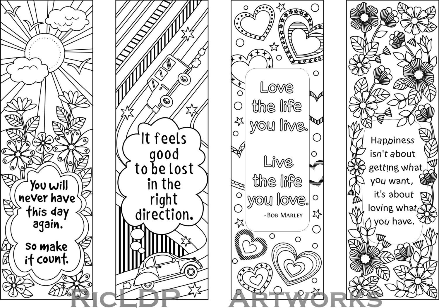 Set Of 4 Coloring Bookmarks With Quotes, Bookmark Templates With - Free Printable Bookmarks Templates