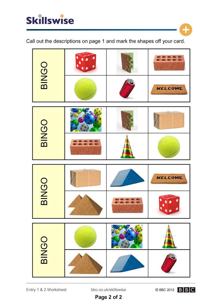 Shape Bingo - 3D Shape Bingo Free Printable