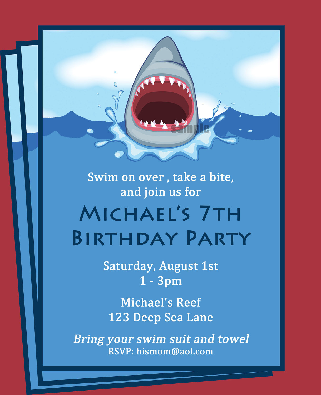Shark Invitation Printable Printable Or Printed With Free | Etsy - Shark Invitations Free Printable
