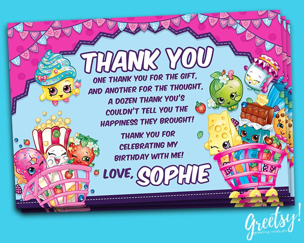 Shopkins Thank You Card Shopkins Birthday Favor Card   Etsy - Free Printable Shopkins Thank You Cards