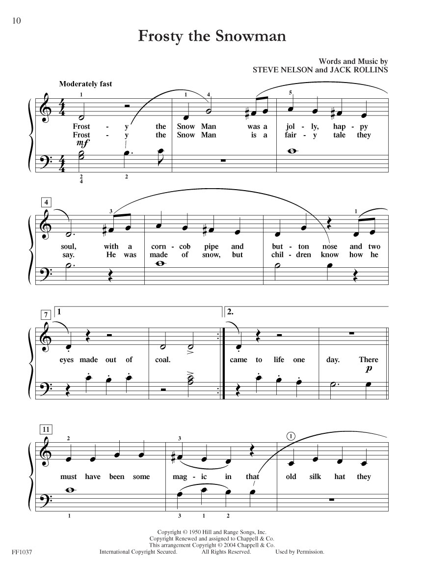 Showtime® Piano Christmas | Faber Piano Adventures - Free Printable Frosty The Snowman Sheet Music