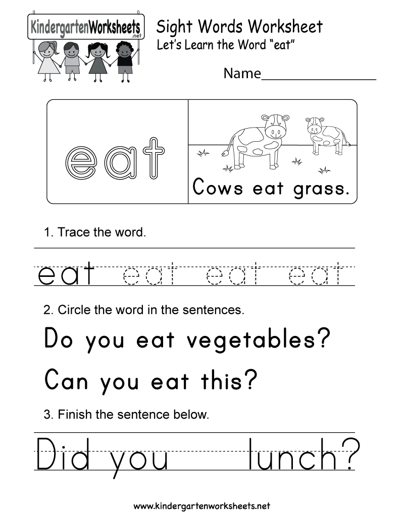 Sight Word (Eat) Worksheet - Free Kindergarten English Worksheet For - Free Printable Sight Word Worksheets