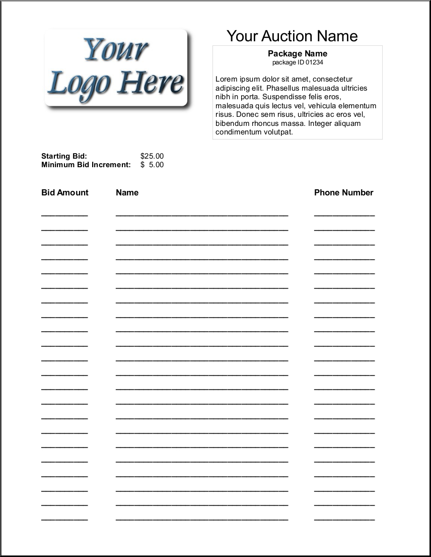 Silent Auction Bid Sheet Template 1641   Silent Auction   Silent - Free Printable Silent Auction Bid Sheets