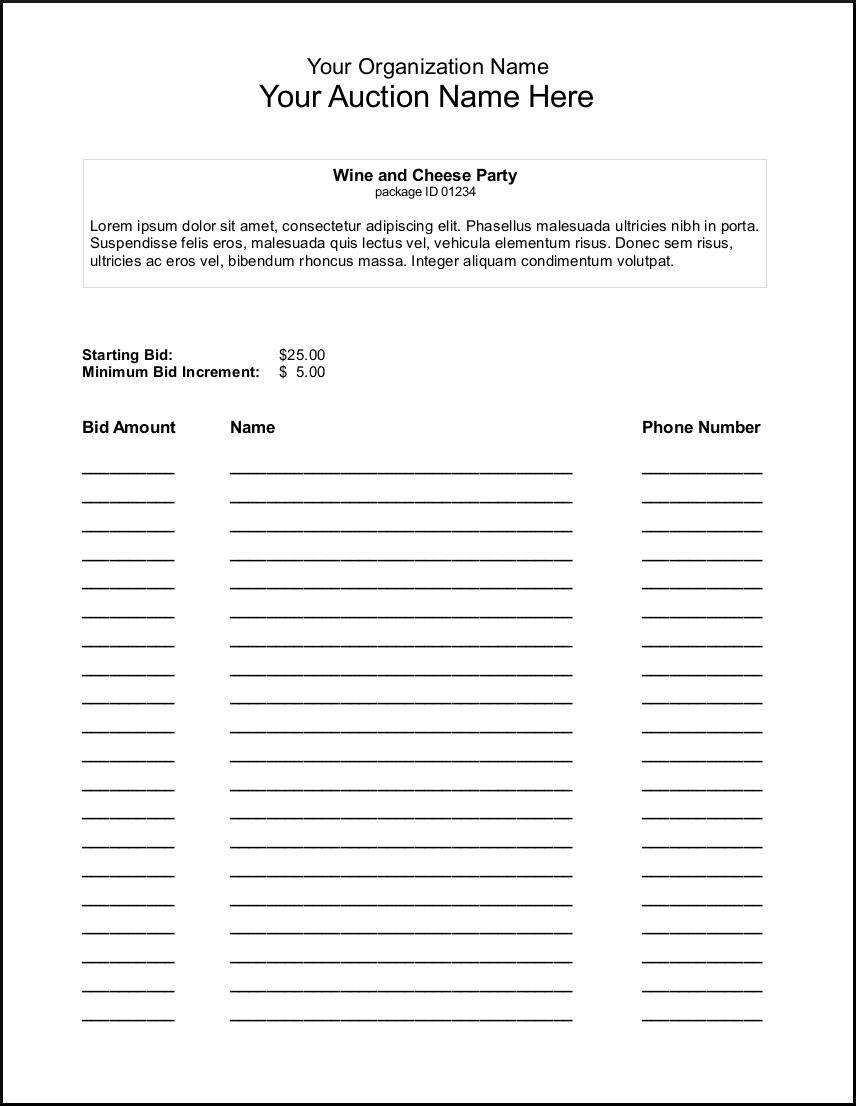 Silent Auction Bid Sheet Template - Google Search   Auction Ideas - Free Printable Silent Auction Bid Sheets