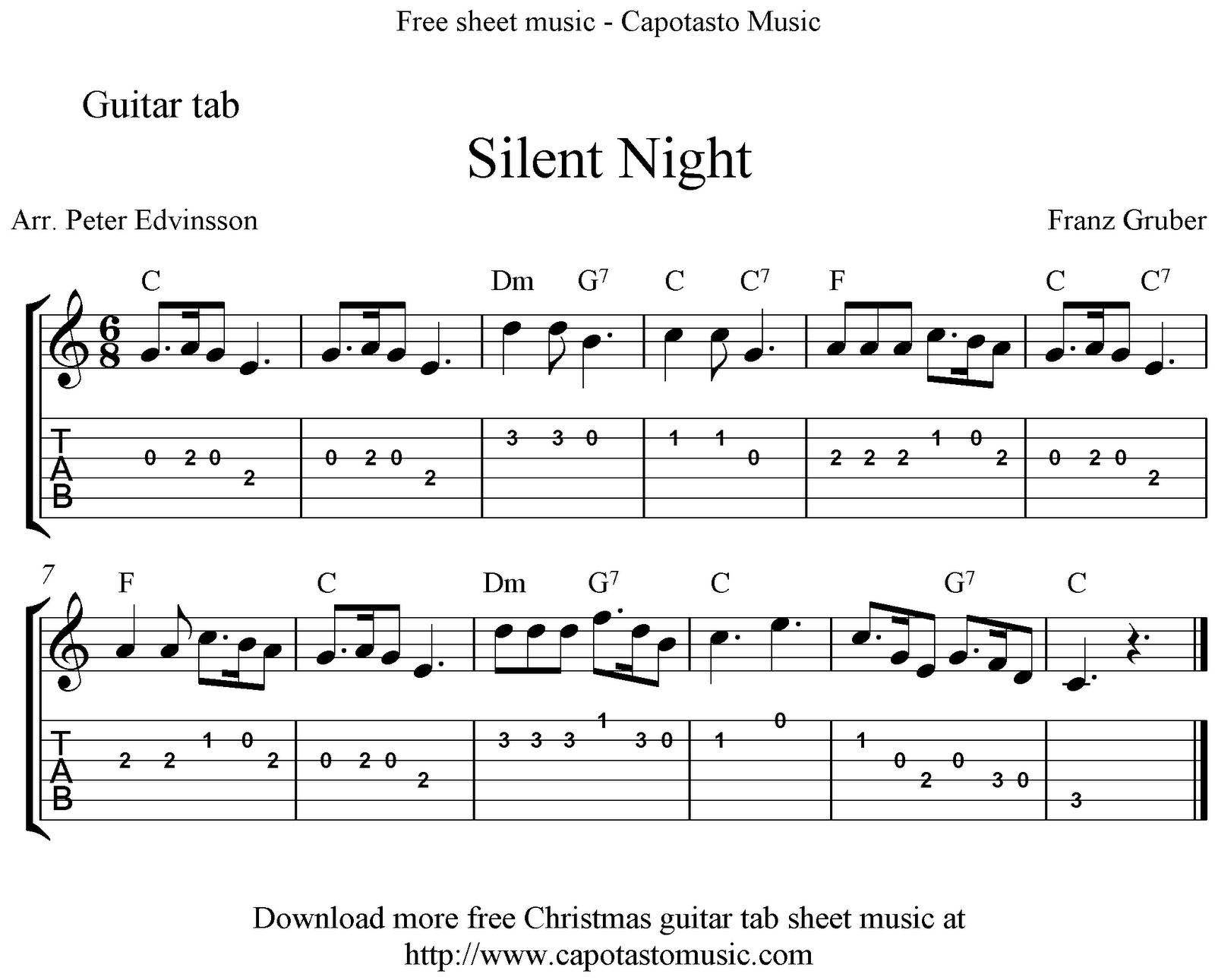Silent Night, Easy Free Christmas Guitar Tab Sheet Music - Free Printable Guitar Music