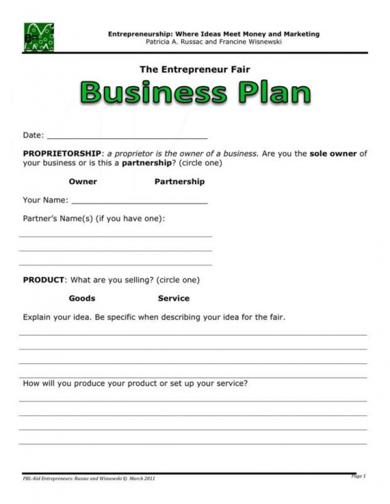 Simple Business Plan Template For High School Students Basic With - Free Printable Simple Business Plan Template