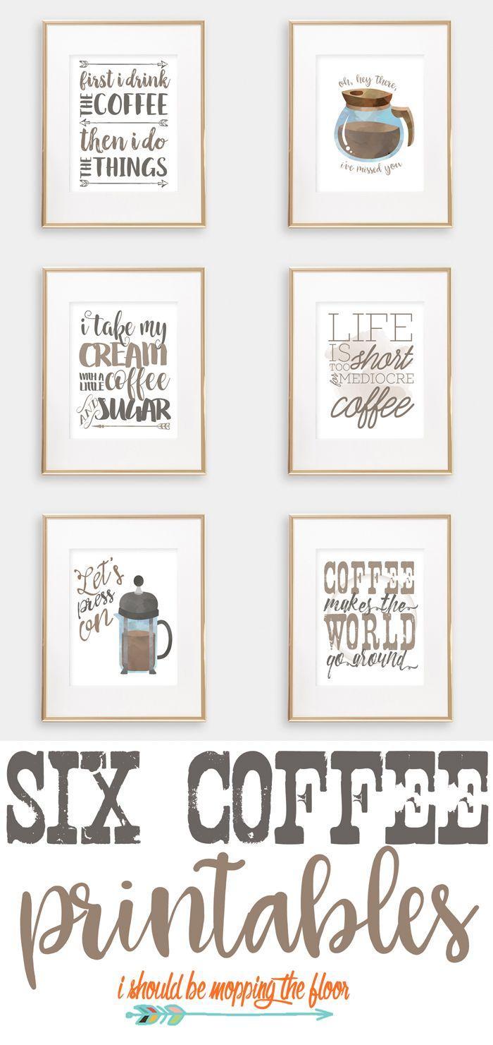 Six Coffee Printables | Printables | Pinterest | Coffee Bar Home - Free Printable Coffee Bar Signs