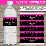 Slime Water Bottle Labels | Pink Slime Theme Birthday Party   Free Printable Paris Water Bottle Labels