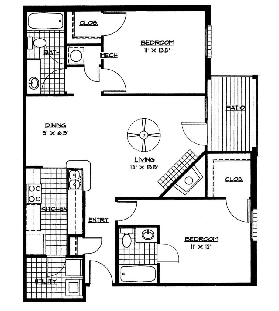 Small House Floor Plans 2 Bedrooms Bedroom Floor Plan Download - Free Printable Small House Plans
