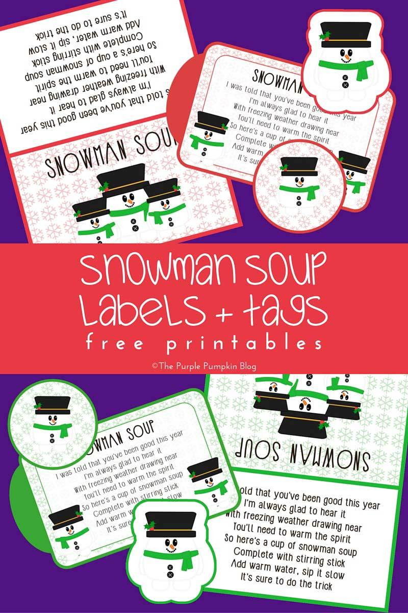 Snowman Soup Labels + Tags - Free Printables - Snowman Soup Free Printable