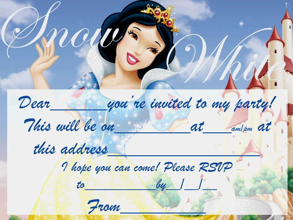 Snowwhite Free Party Invite To Print   Coloring Pages For Kids - Snow White Invitations Free Printable