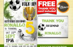 Soccer Birthday Invitation Soccer Invitation | Etsy – Free Printable Soccer Thank You Cards