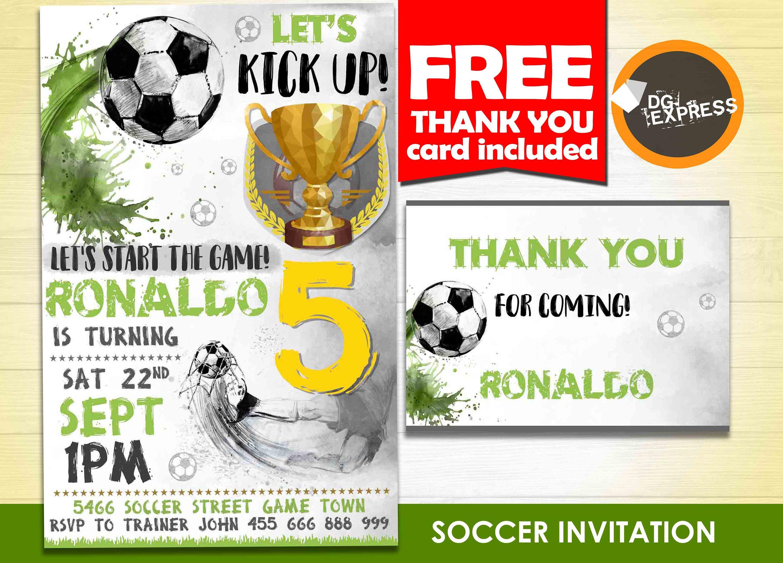 Soccer Birthday Invitation Soccer Invitation | Etsy - Free Printable Soccer Thank You Cards