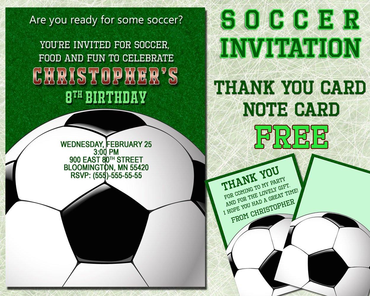 Soccer Invitation For Boys Birthday Party Printable Invite | Etsy - Free Printable Soccer Thank You Cards