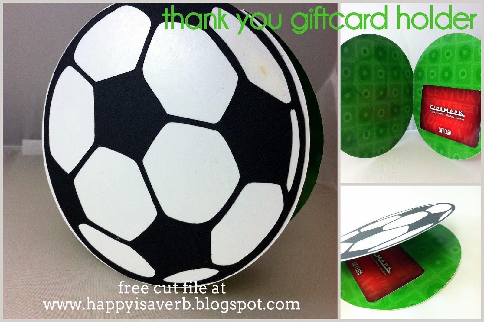 Soccer Thank You Card With Gift Card Holder. Free Silhouette Cut - Free Printable Soccer Thank You Cards