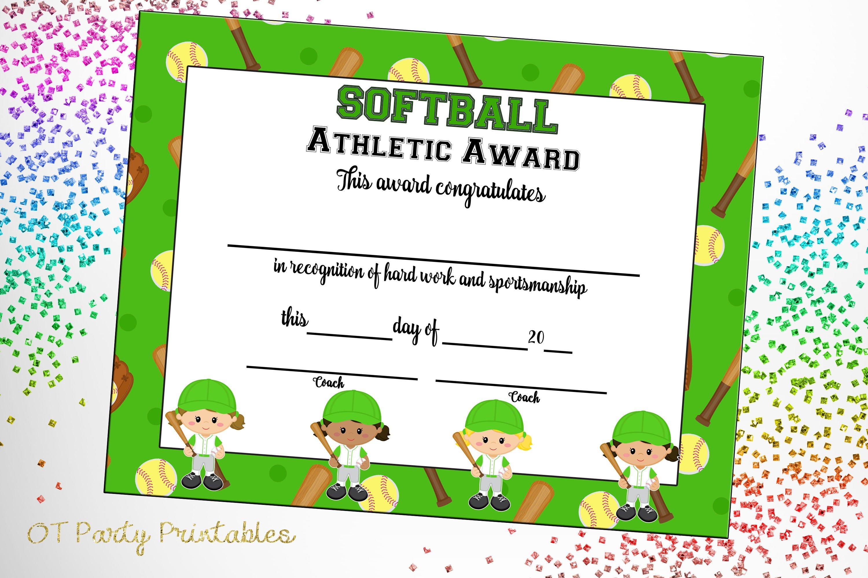 Softball Certificate Of Achievement Softball Award Print   Etsy - Free Printable Softball Award Certificates