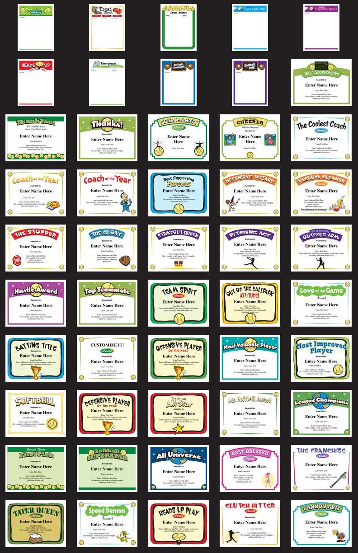 Softball Certificates - Free Award Certificates - Free Printable Softball Images