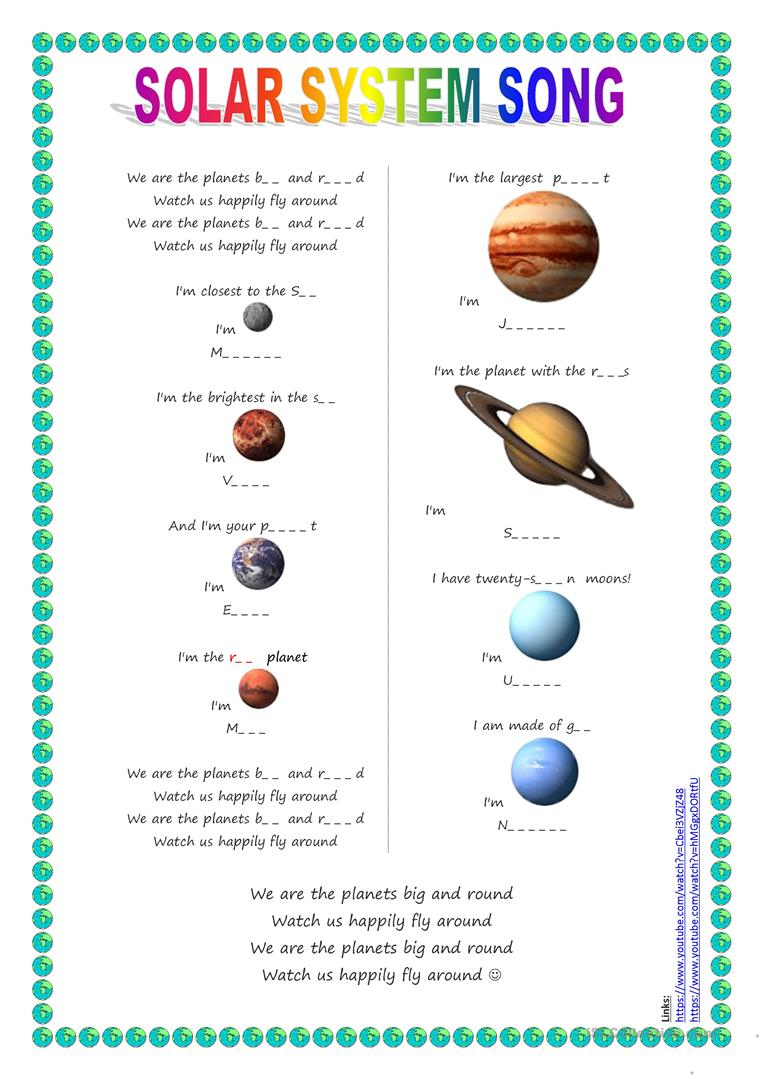 Song For Kids: Planets / Solar System Song Worksheet - Free Esl - Free Printable Solar System Worksheets