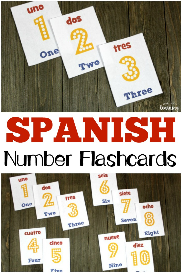 Spanish Number Flashcards 1-10 - Look! We're Learning! - Free Printable Spanish Numbers