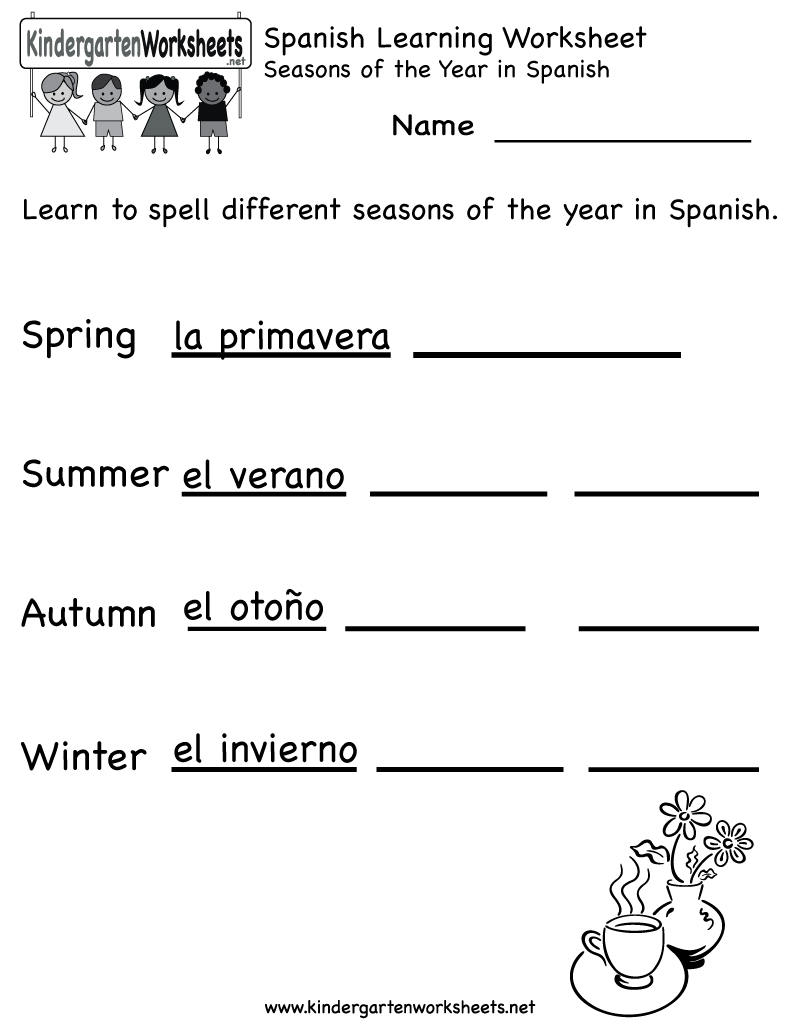 Spanish Worksheets For Kindergarten | Free Spanish Learning - Free Printable Elementary Spanish Worksheets