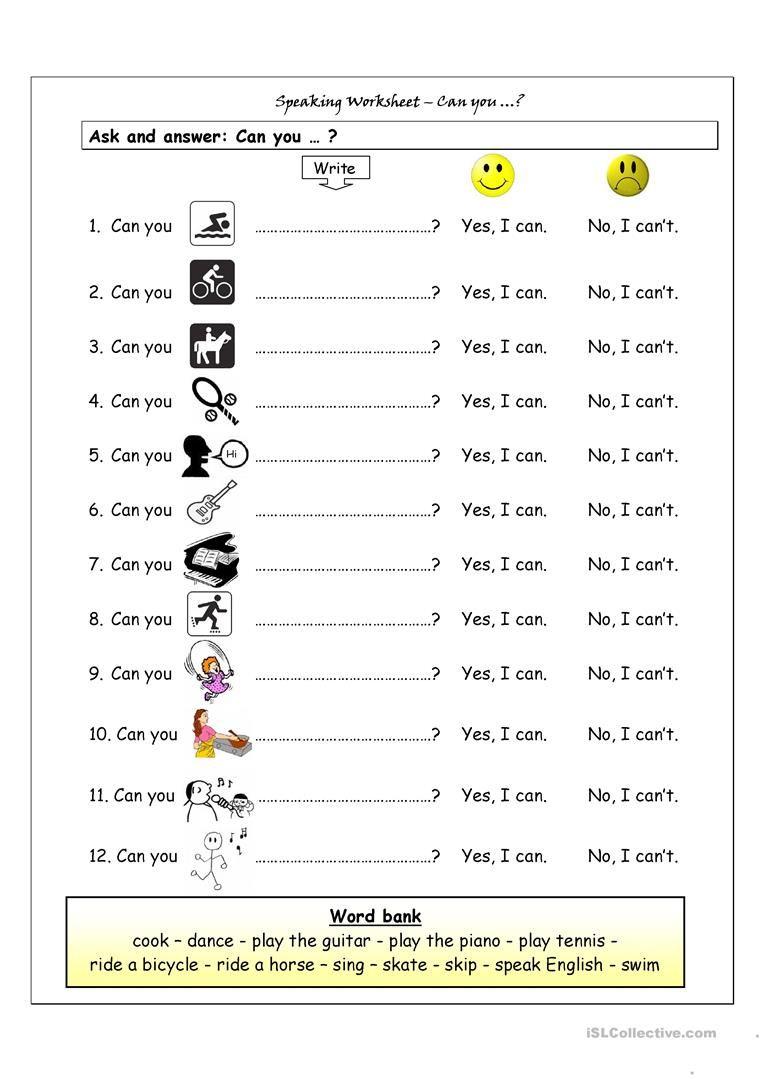 Speaking Worksheet - Can You? Worksheet - Free Esl Printable - Free Printable English Lessons For Beginners
