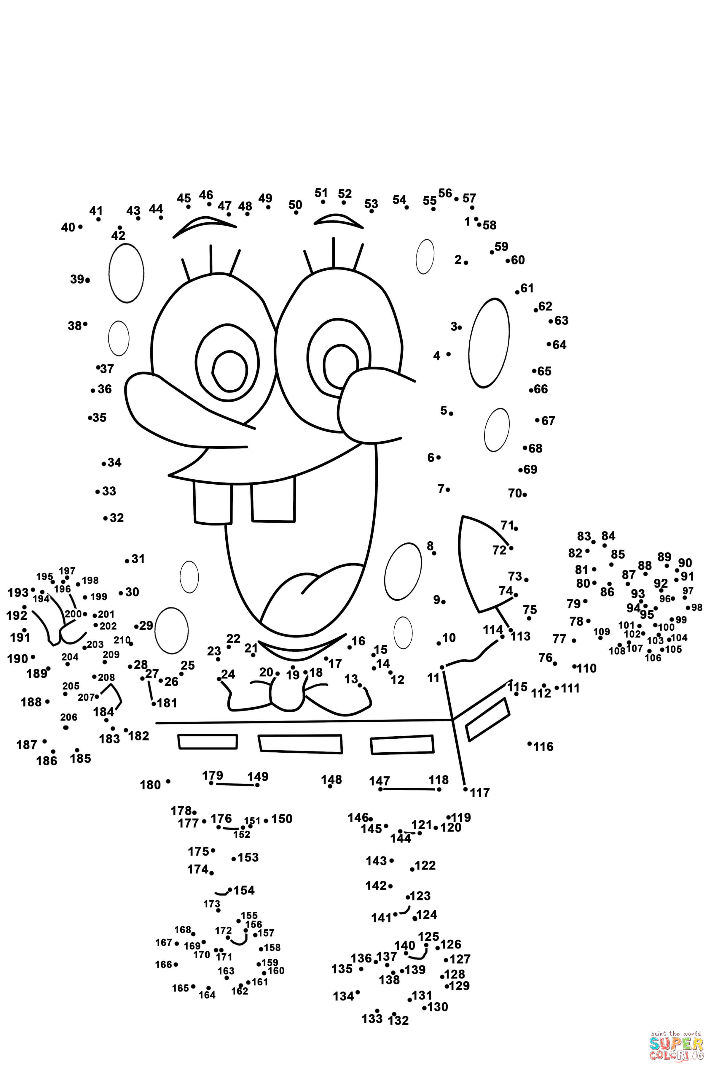 Spongebob Dot To Dot | Free Printable Coloring Pages - Free Printable Connect The Dots