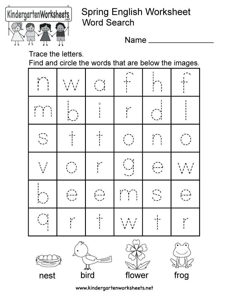 Spring English Worksheet - Free Kindergarten Seasonal Worksheet For Kids - Free Printable Spring Worksheets For Kindergarten