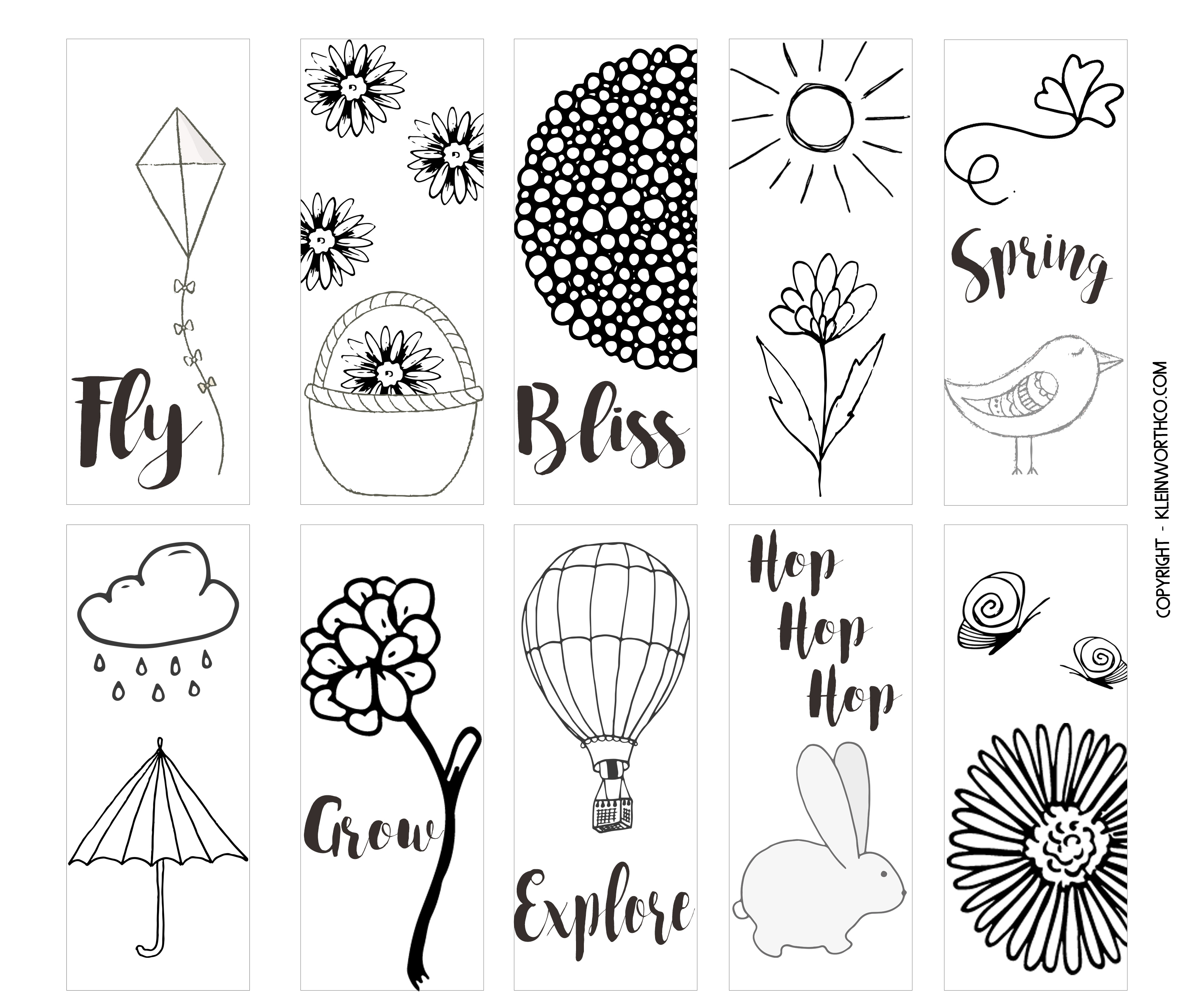 Spring Printable Coloring Page Bookmarks - Kleinworth & Co - Free Printable Spring Bookmarks