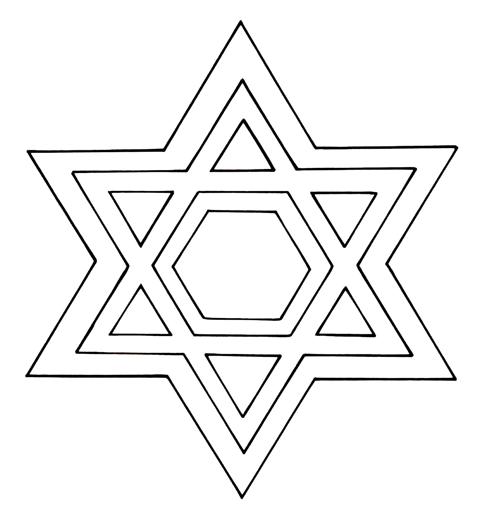 Star Of David Coloring Page - Star Of David Template Free Printable