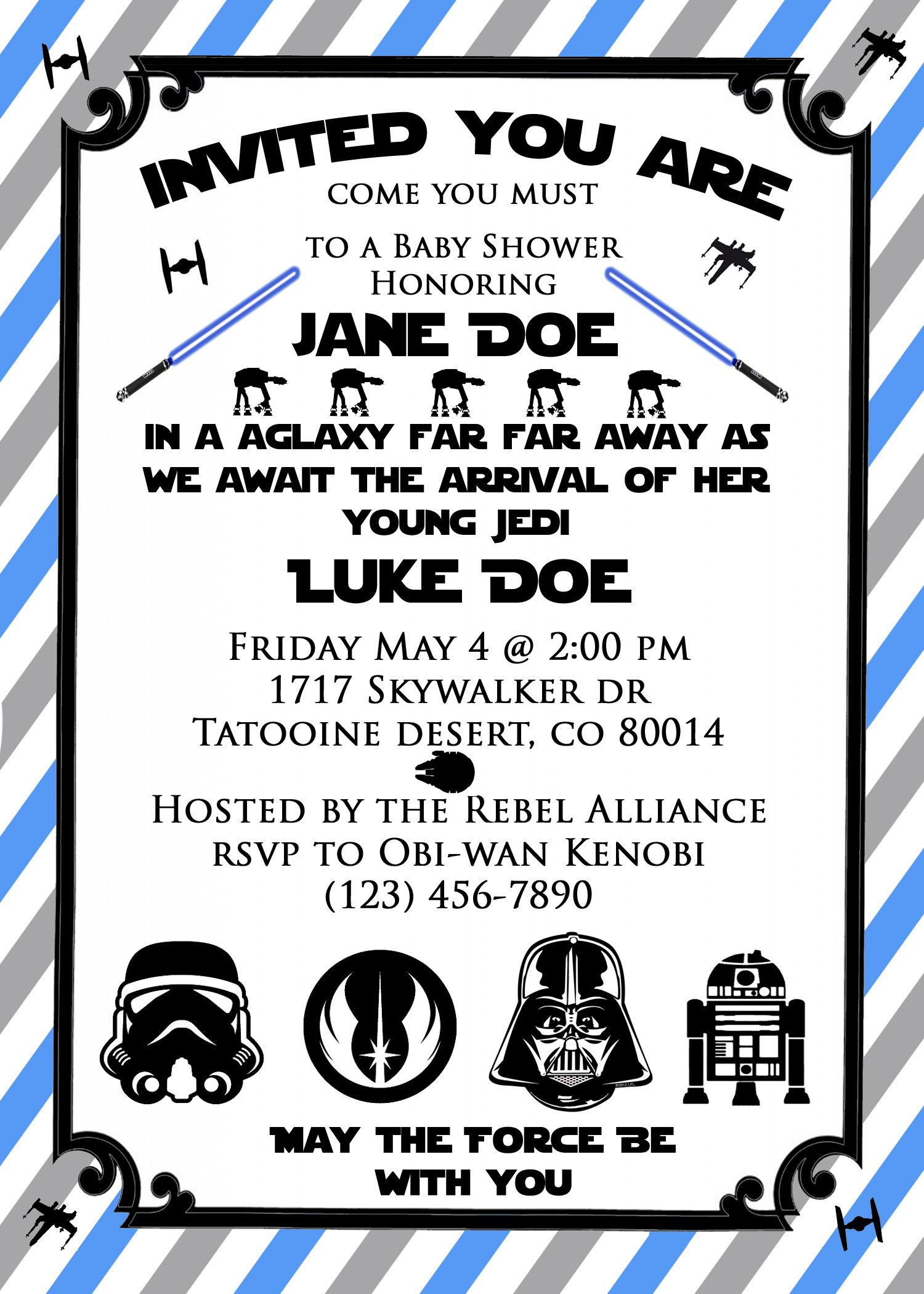 Star Wars Baby Shower Invite! So Cute For A Star Wars Themed Baby - Free Printable Star Wars Baby Shower Invites