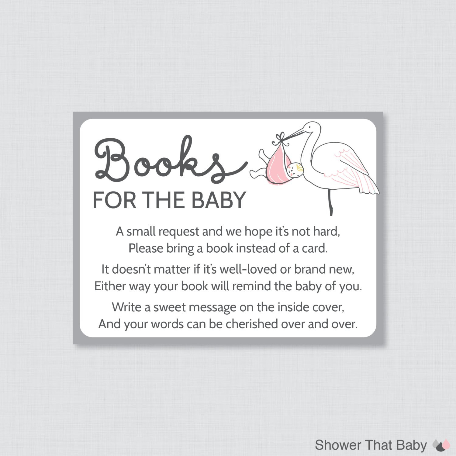 Stork Baby Shower Bring A Book Instead Of A Card Invitation Mobile - Bring A Book Instead Of A Card Free Printable