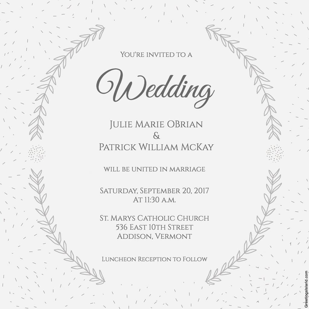 Stylized Laurels Wedding Invitation | Free Printable Wedding - Free Printable Wedding Invitations
