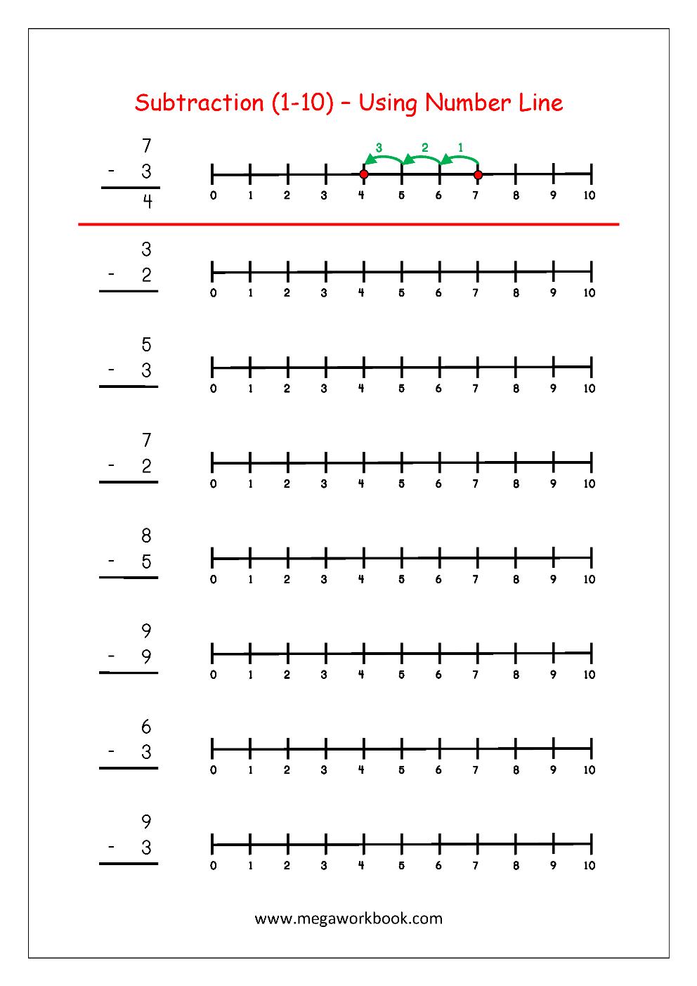 Subtraction Using Number Line   Maths Worksheets For Kindergarten - Free Printable Number Line Worksheets