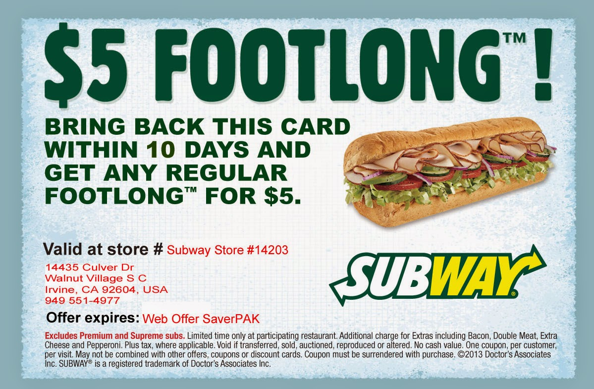 Subway Printable Coupons Aug 2018 : 17 Day Diet Freebies - Free Printable Subway Coupons 2017