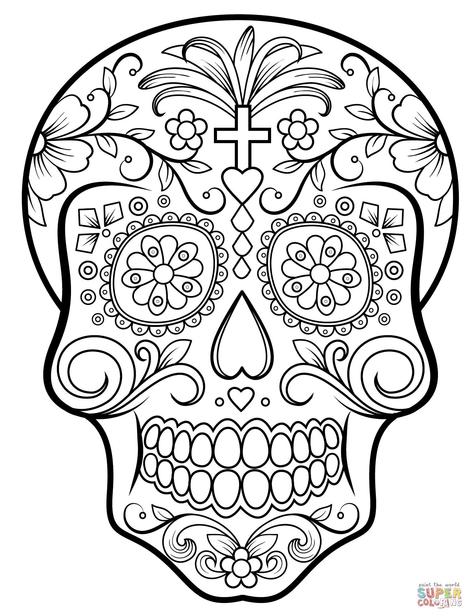 Sugar Skulls Coloring Pages | Free Coloring Pages - Free Printable Sugar Skull Coloring Pages