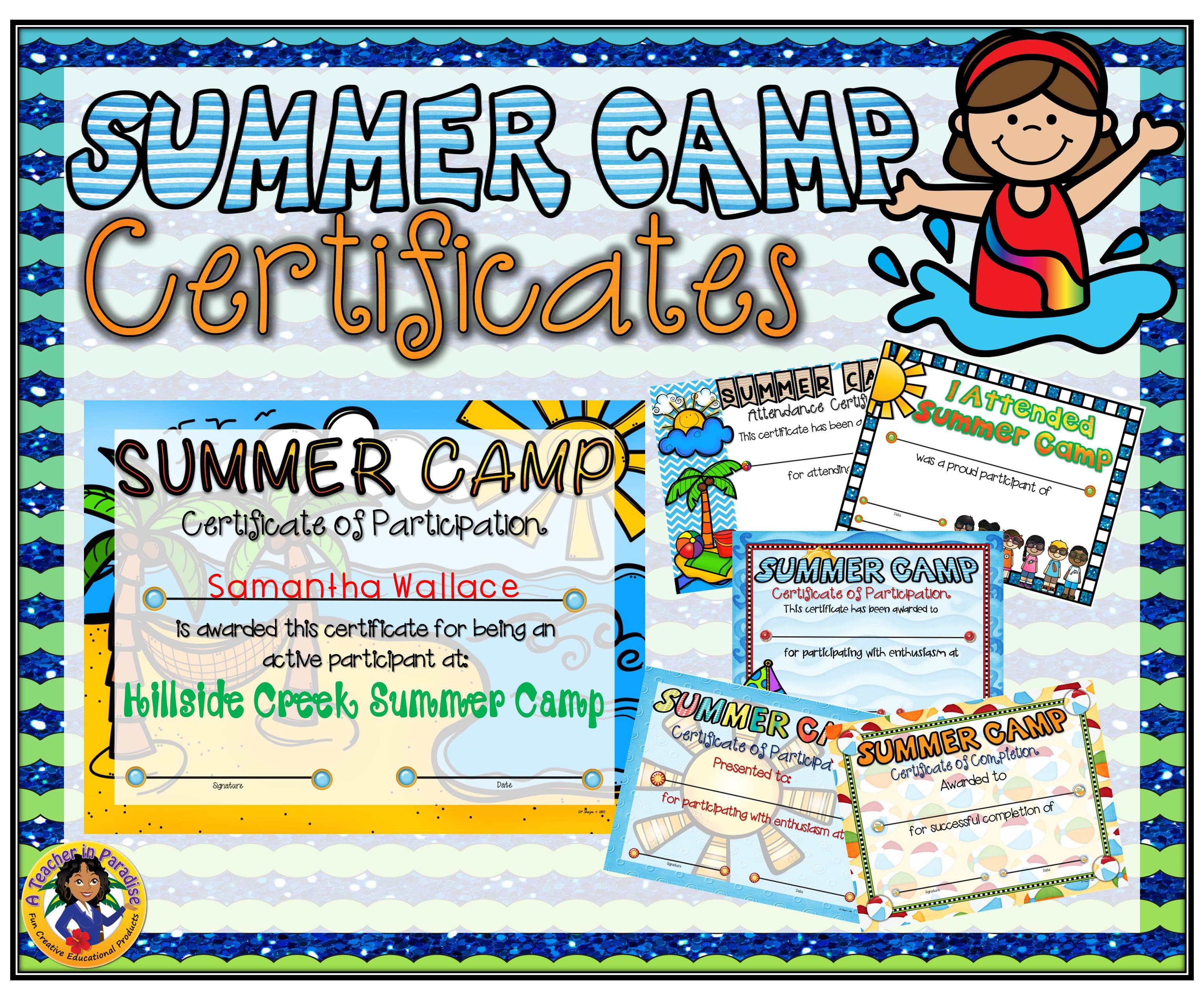 Summer Camp Certificate Template - Free Printable Camp Certificates